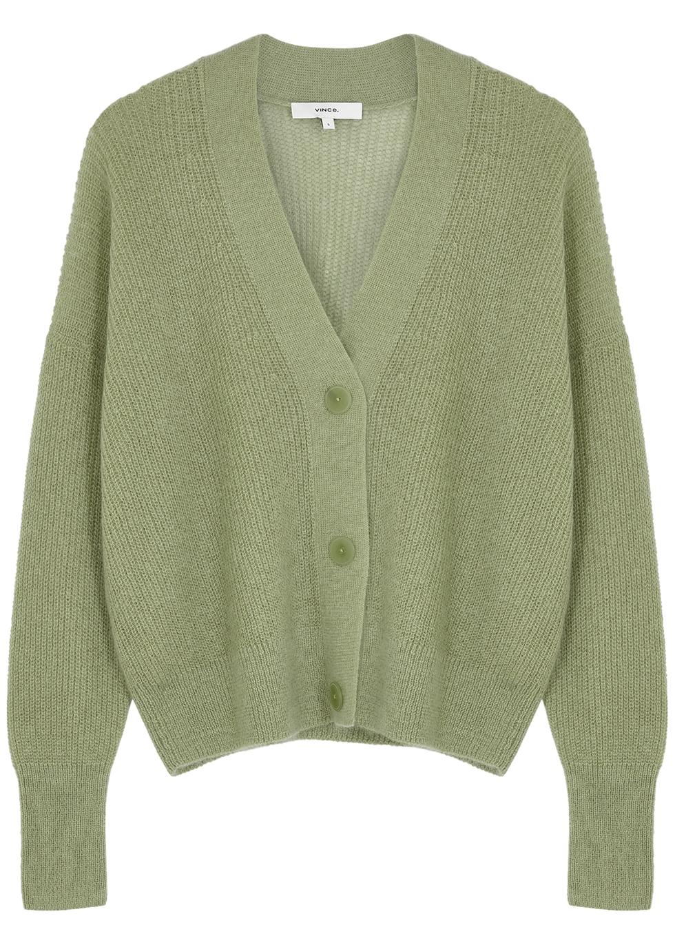 Light green ribbed knit cardigan