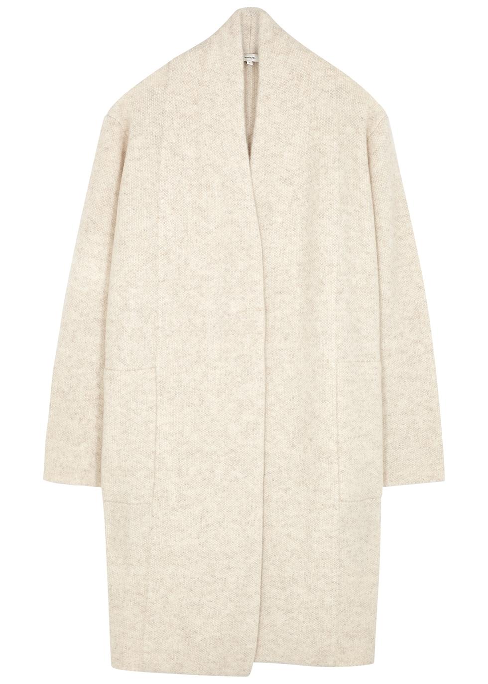 Taupe wool-blend cardigan