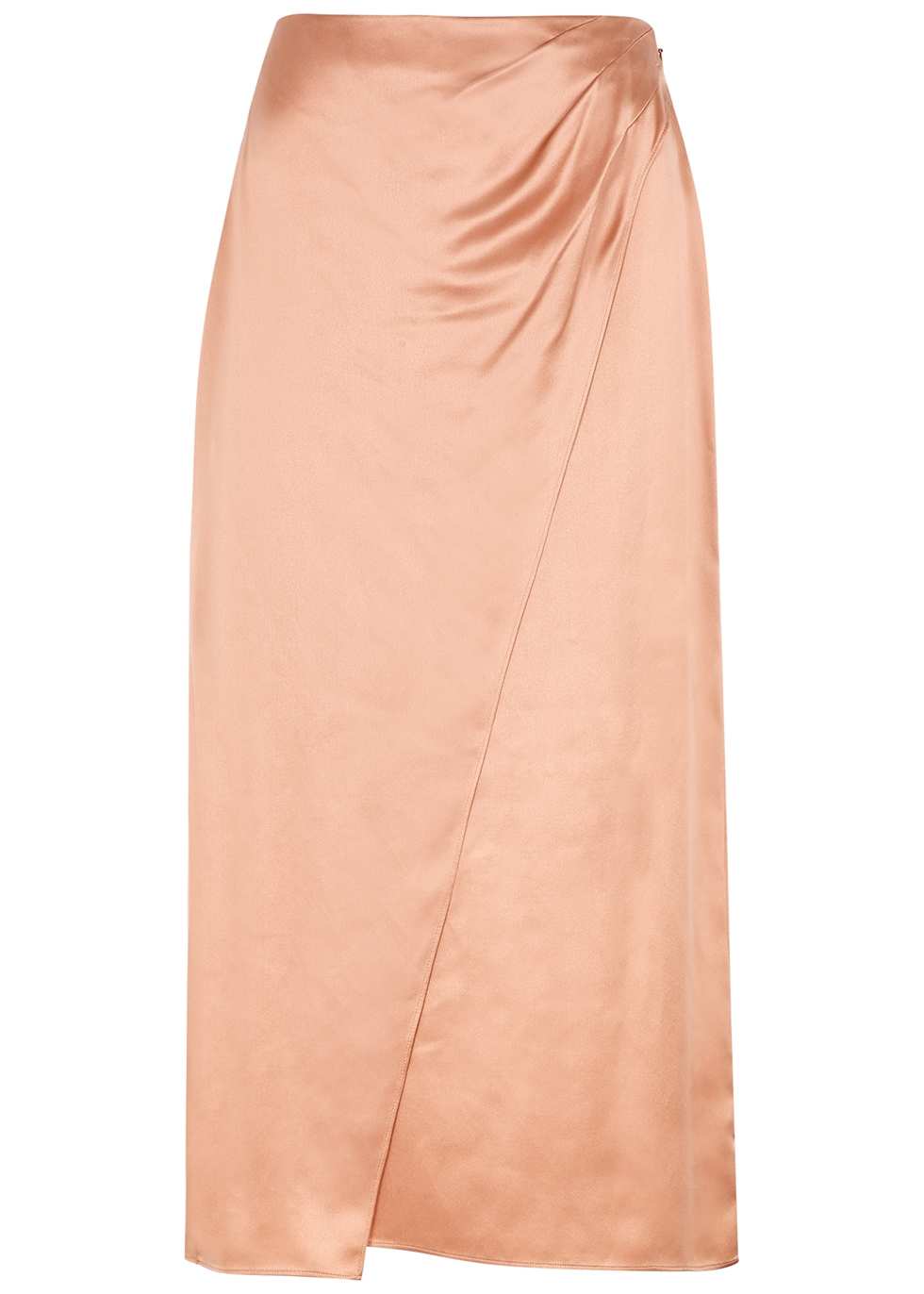 Dusky pink silk-satin midi skirt