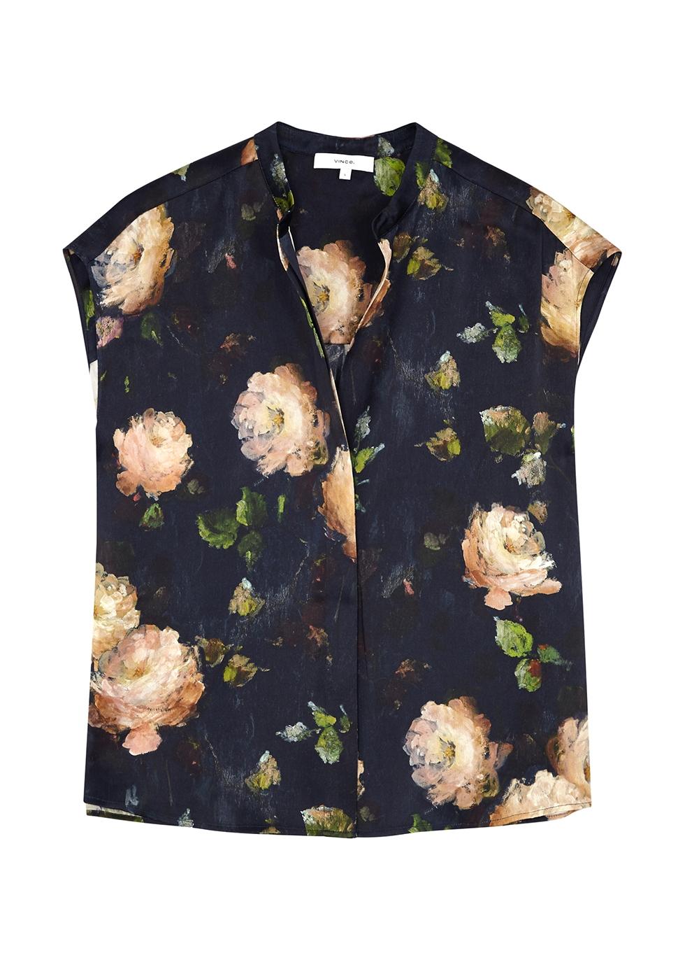 Navy floral-print silk blouse