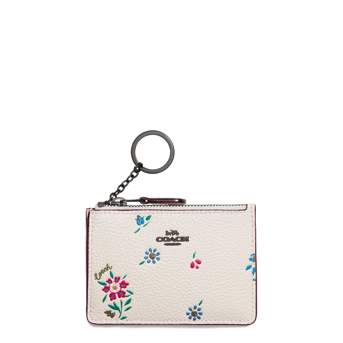 Coach FLORAL-PRINT LEATHER CARD HOLDER