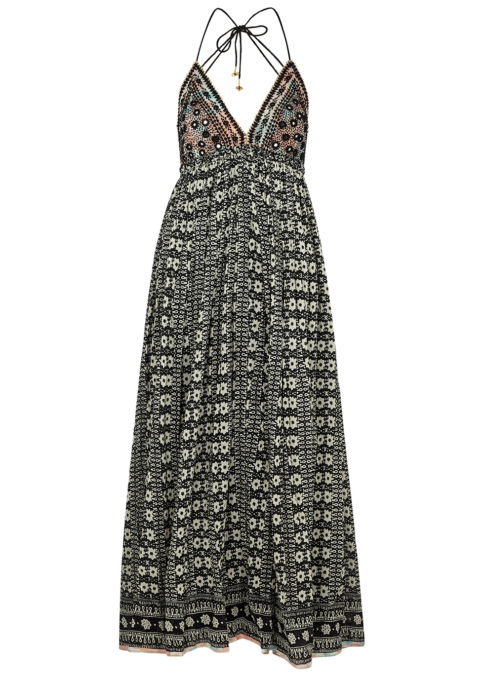 Good Vibes printed embellished cotton dress