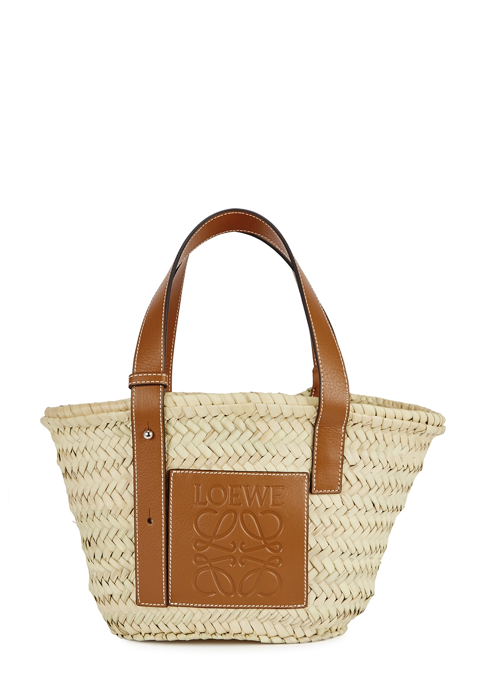Small cream raffia basket bag