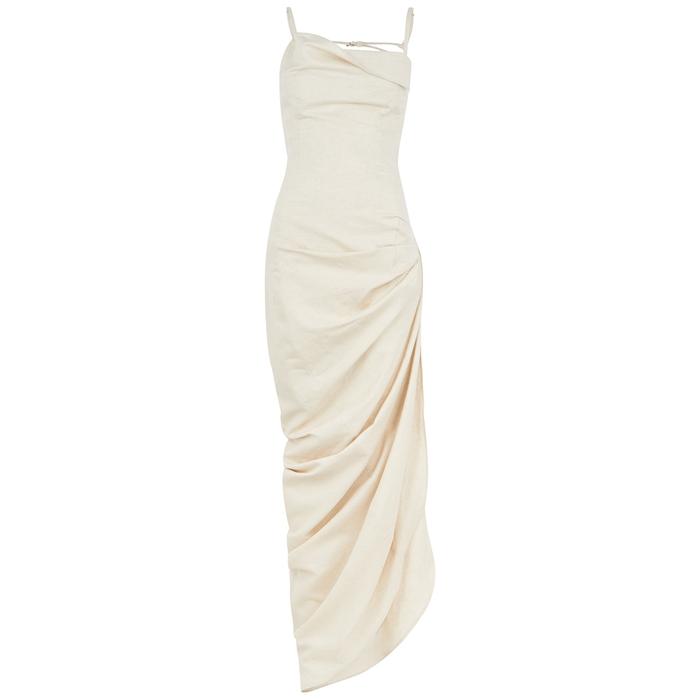 Jacquemus Cottons LA ROBE SAUDADE STONE COTTON-BLEND MAXI DRESS