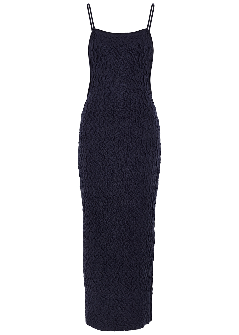 JACQUEMUS Robes LA ROBE MAILLE NAVY VELOUR MIDI DRESS