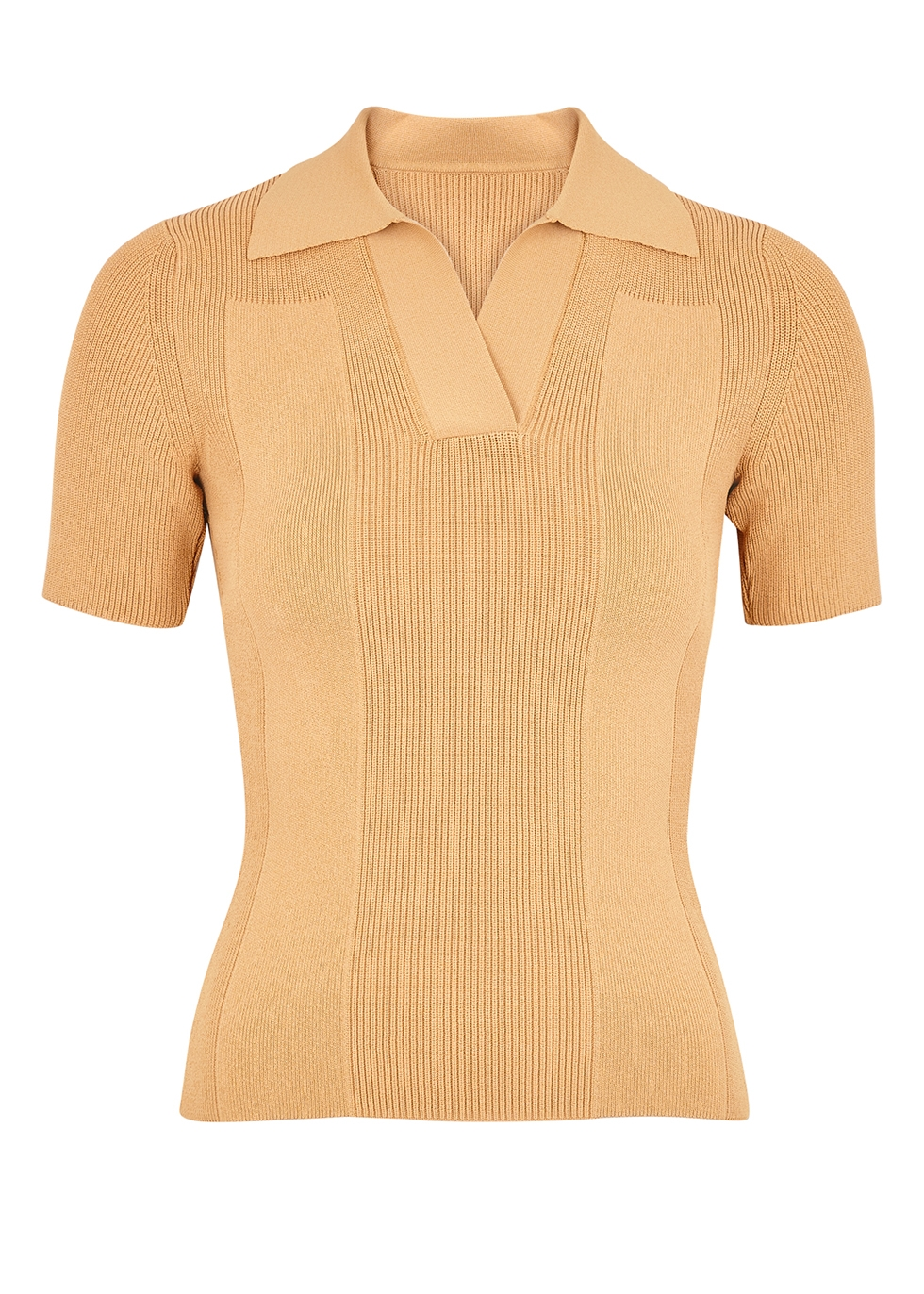 Jacquemus LA MAILLE POLO SAND STRETCH-KNIT TOP