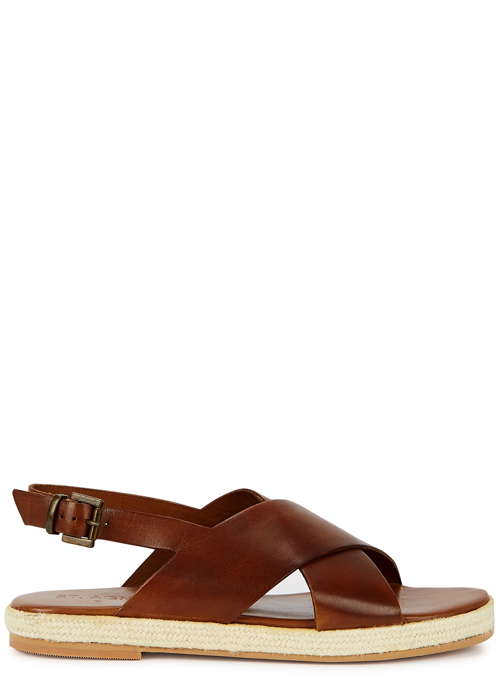 Basque brown leather espadrille sandals