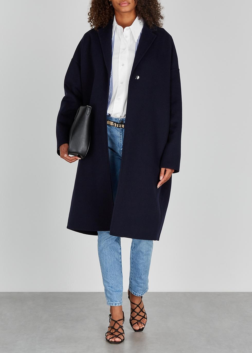 Navy Blue High Collar Winter Coat