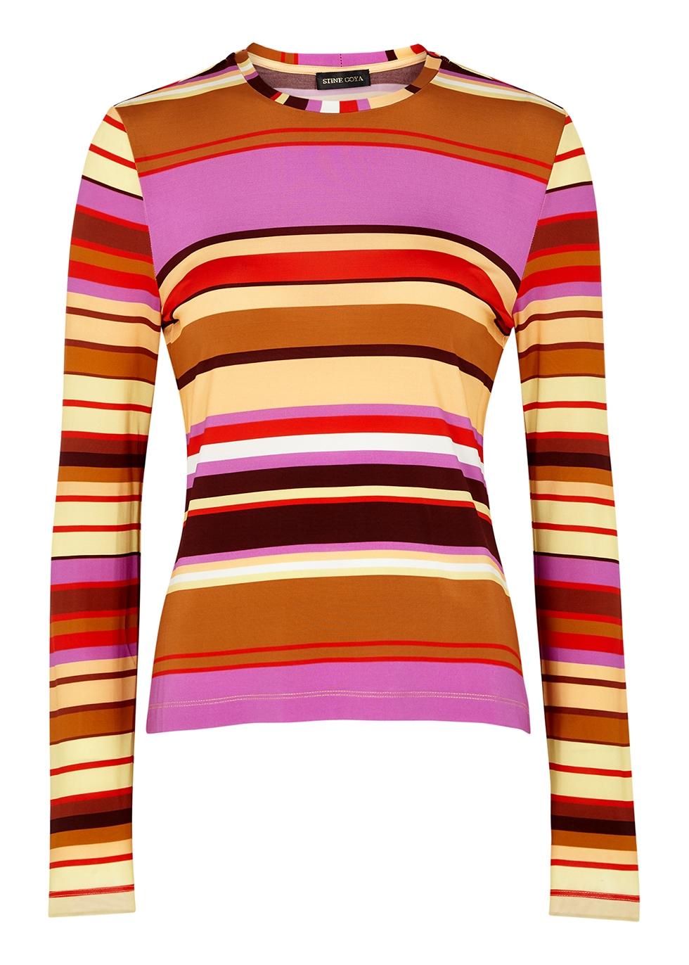 Maya striped stretch-jersey top