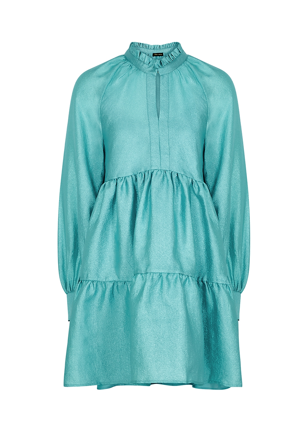 Jasmine metallic aqua mini dress