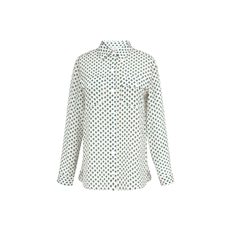 Gerard Darel Nicoletta - Printed Silk Crepe De Chine Shirt In Emeraude