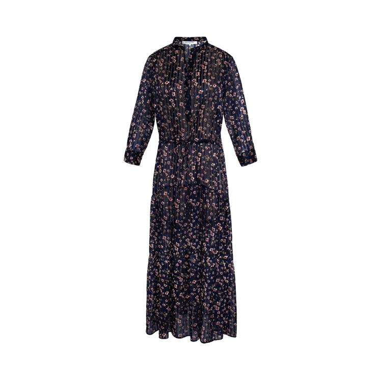 Gerard Darel Sandy - Long Bohemian Floral Print Dress In Marine