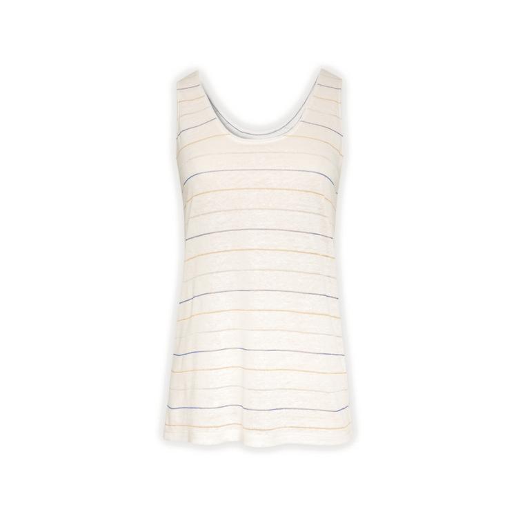 Gerard Darel Jaynne - Linen Tank Top With Stripes In Lurex In Ecru