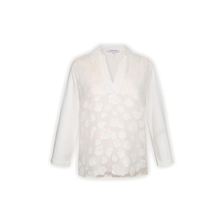 Gerard Darel Jannie - Bi-material T-shirt With Flowers Devore In Ecru