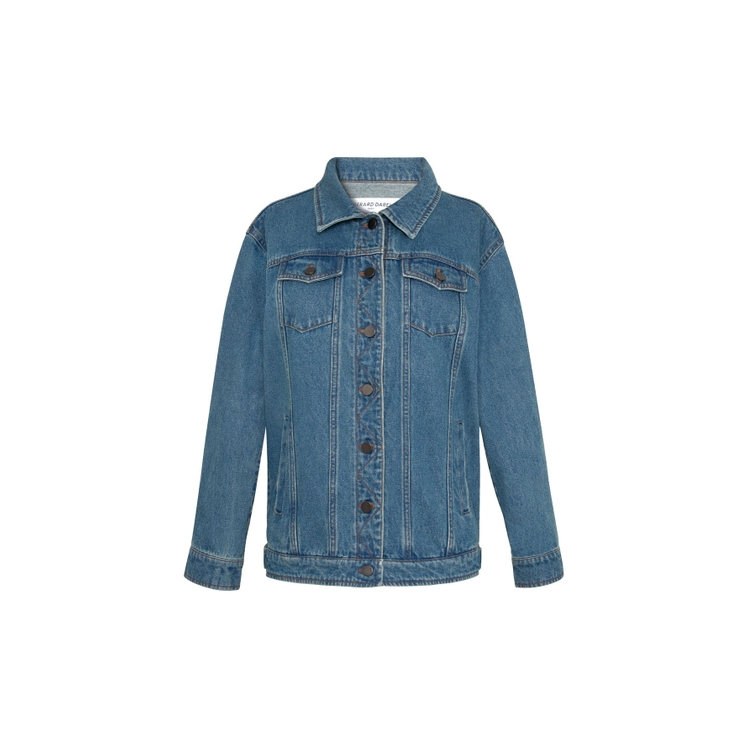 Gerard Darel Aurelia - Straight-cut Denim Canvas Jacket In Jeans
