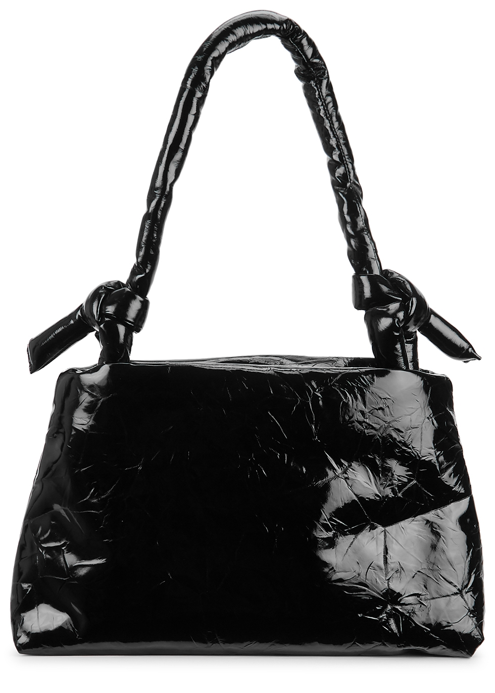 Lady black glossed leather tote