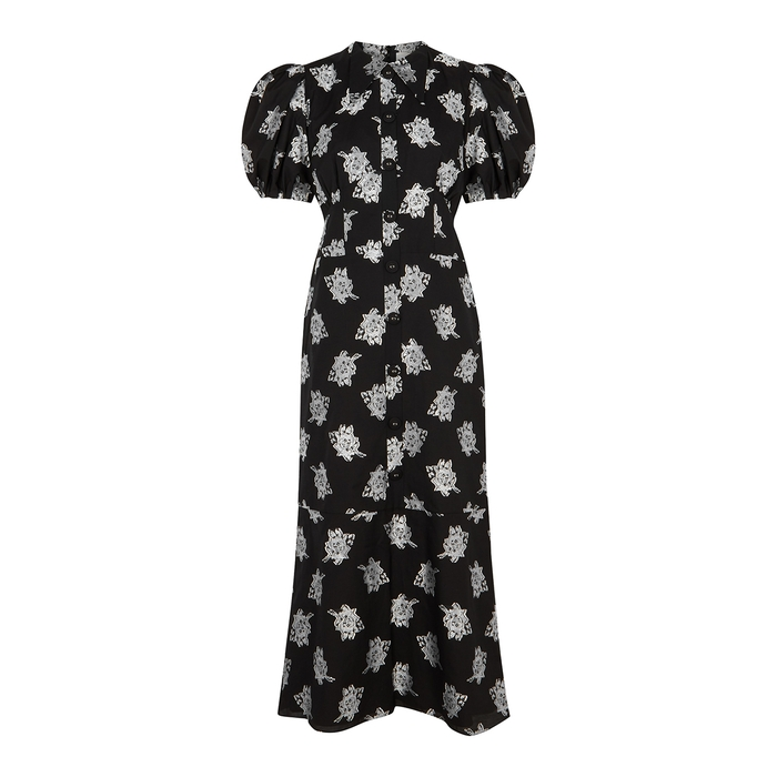 ERDEM ANTONETTA BLACK JACQUARD MIDI DRESS