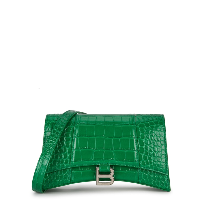 Balenciaga HOURGLASS GREEN LEATHER SHOULDER BAG