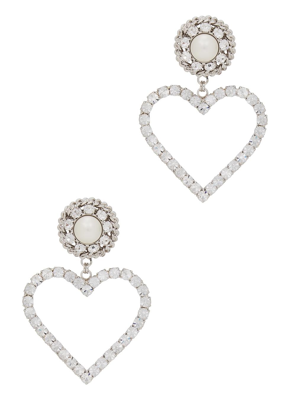 Crystal-embellished heart clip-on earrings