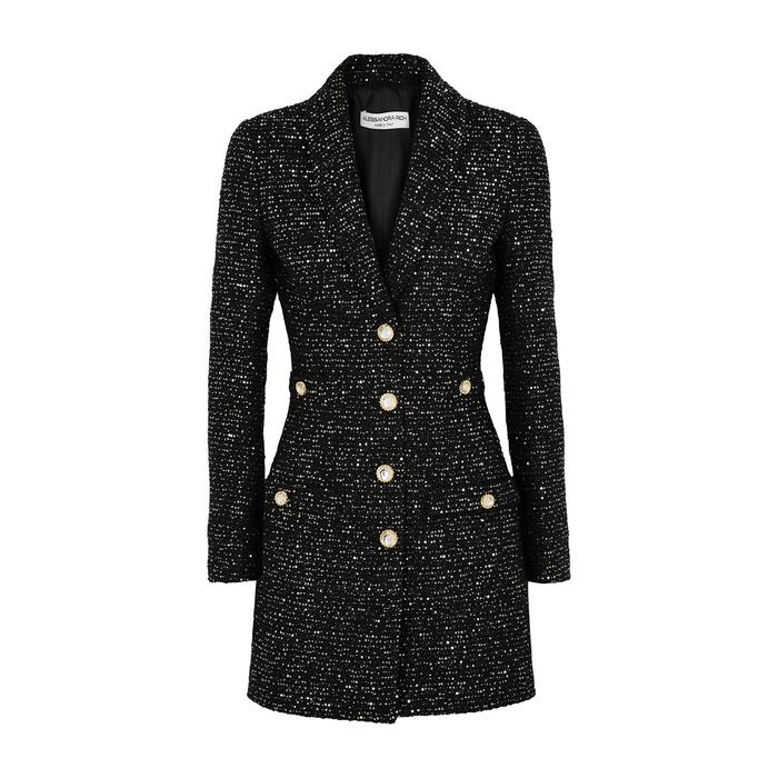 Alessandra Rich BLACK EMBELLISHED TWEED BLAZER DRESS