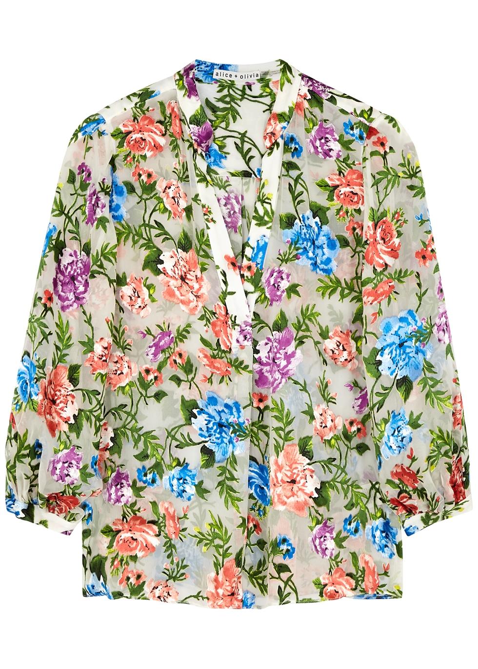 Shiela floral devoré blouse