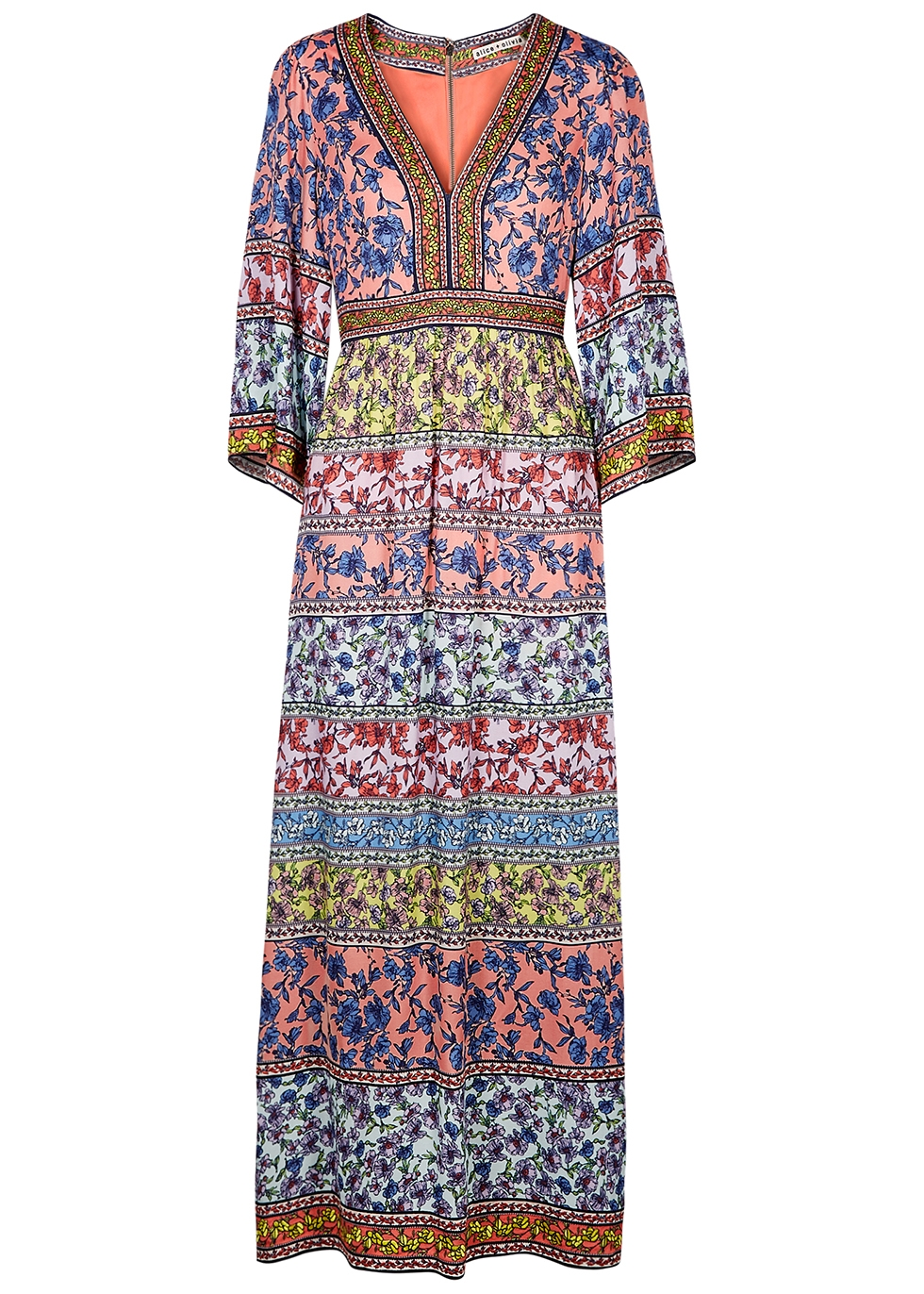 Lena embroidered floral-print maxi dress