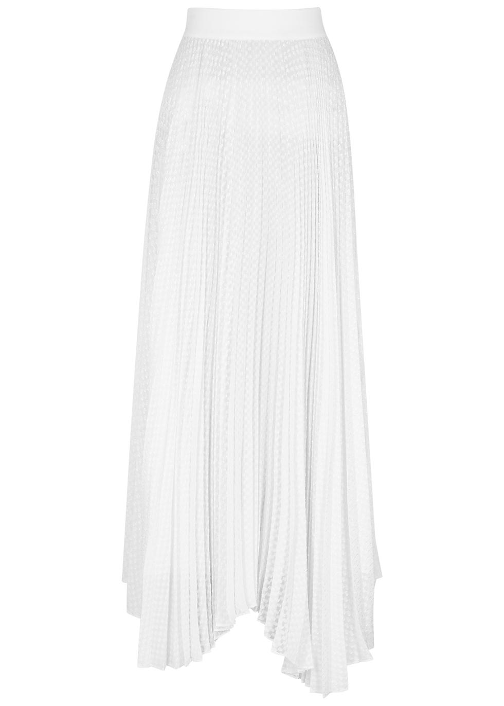Katz white pleated jacquard maxi skirt