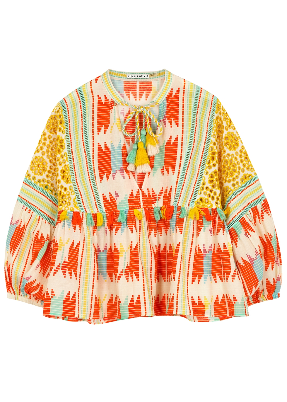 Alice And Olivia ROSANA PRINTED COTTON BLOUSE