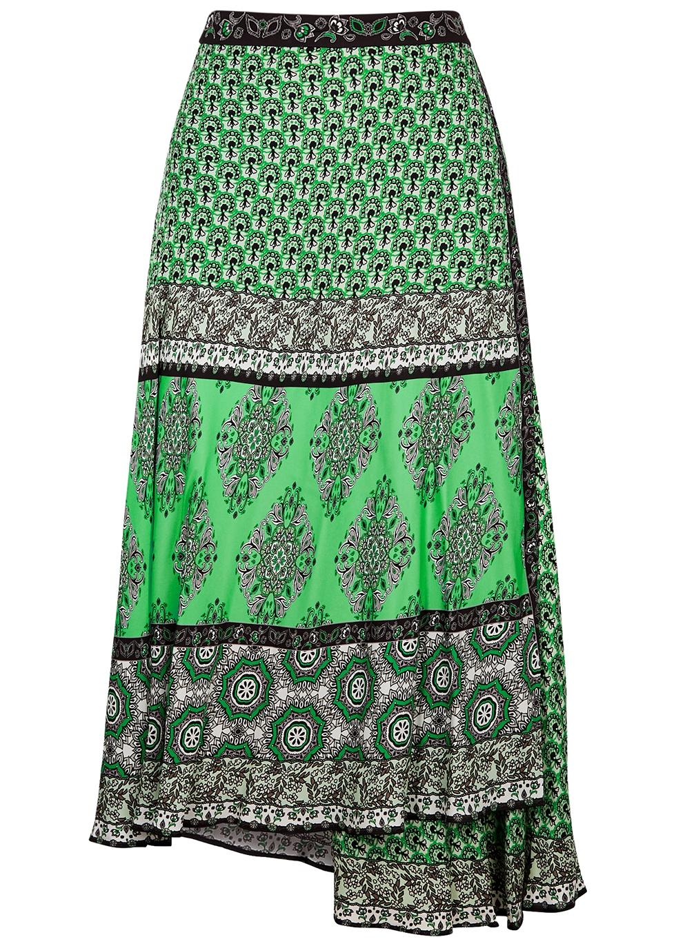 Nanette printed satin midi skirt
