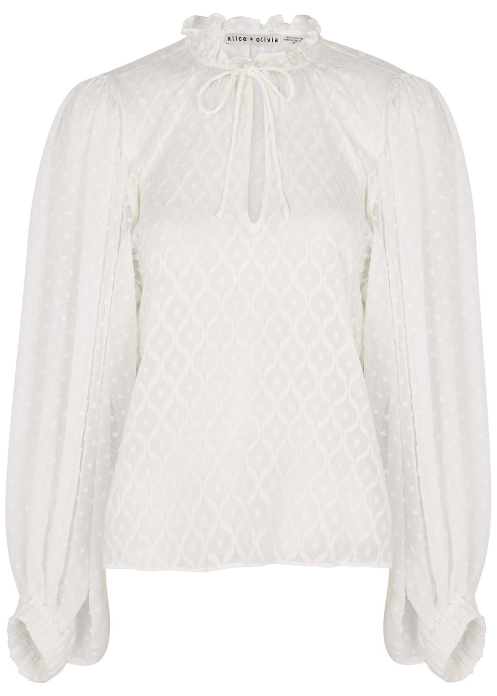 Julius white devore silk-blend blouse