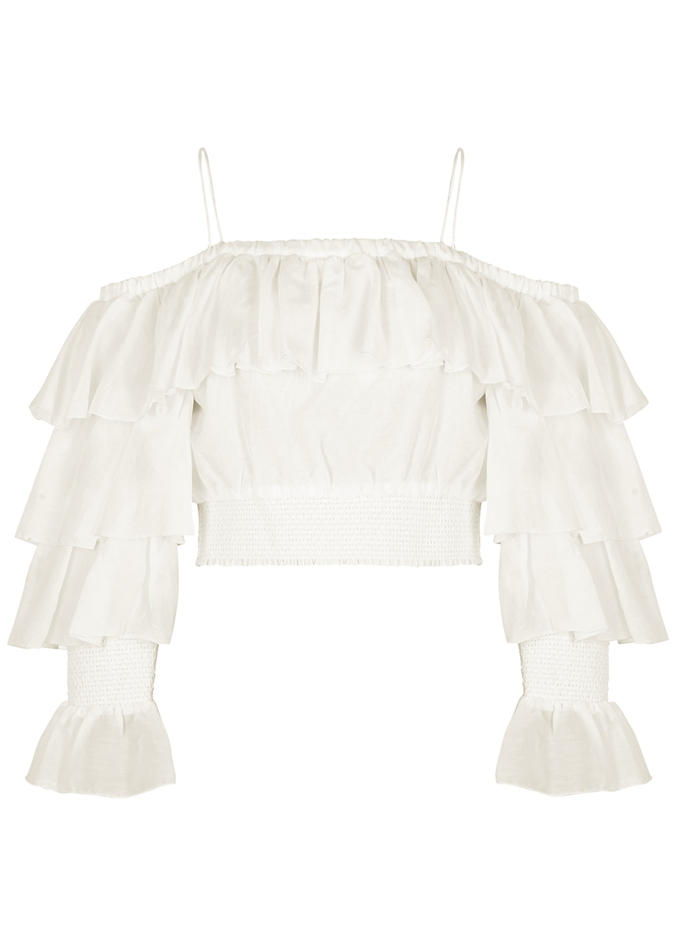 Mandara ruffled cotton-blend top