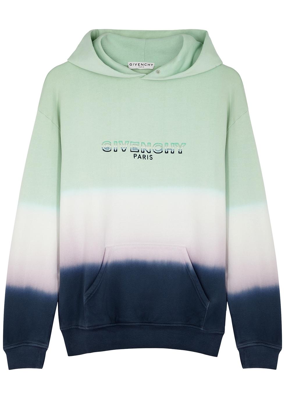 Tie-dyed hooded cotton sweatshirt