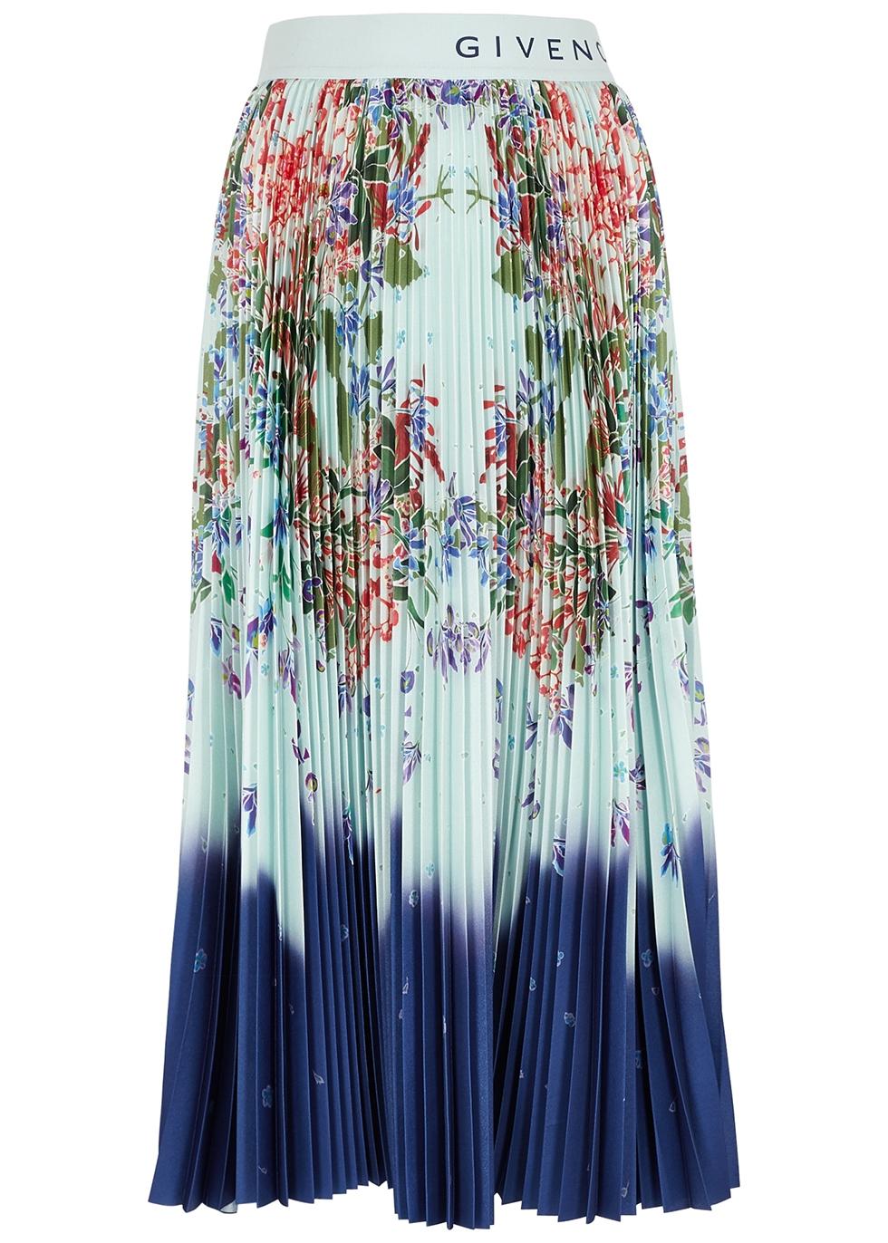Floral-print pleated satin midi skirt