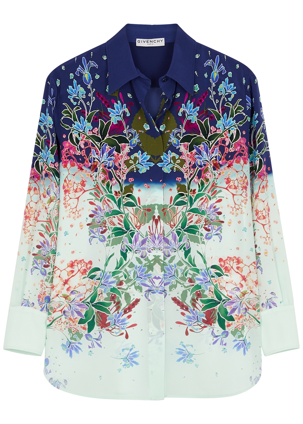Printed silk crepe de chine shirt