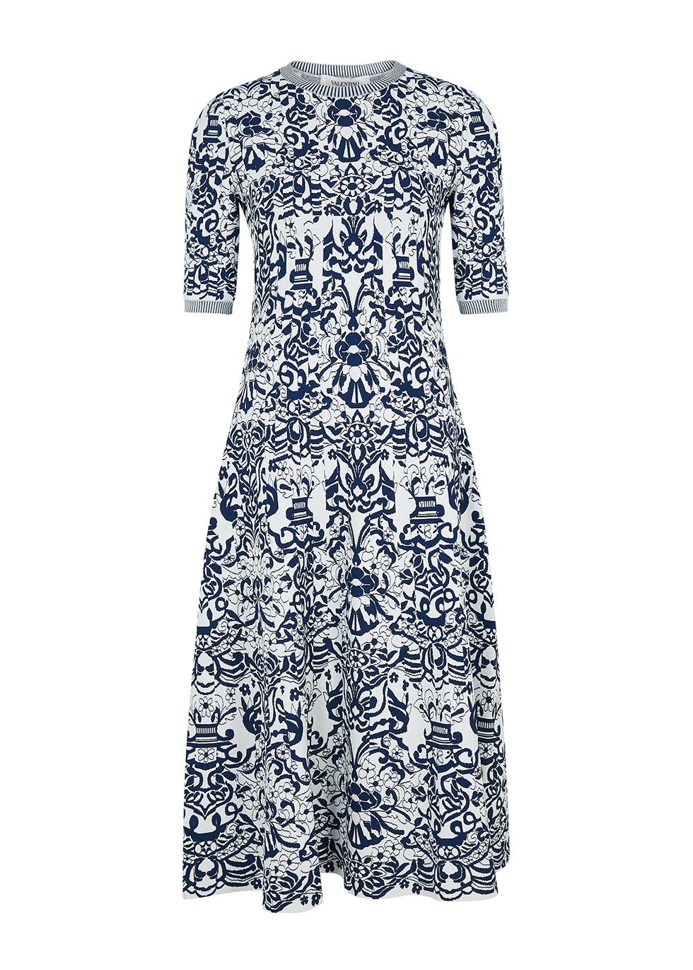 Floral-jacquard stretch-knit midi dress