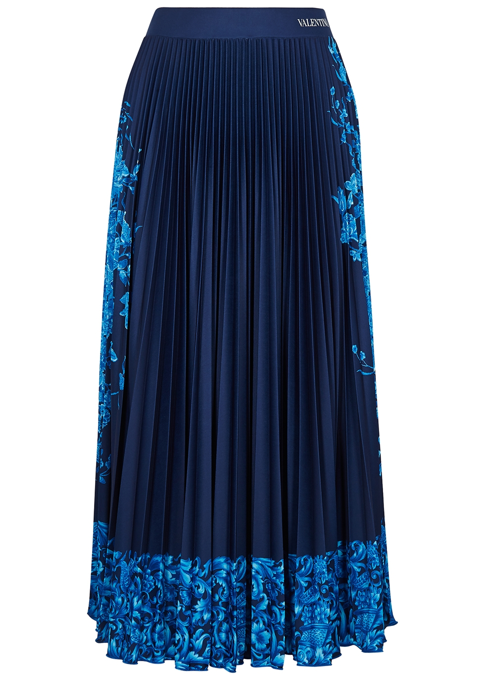 Navy floral-print pleated jersey midi skirt