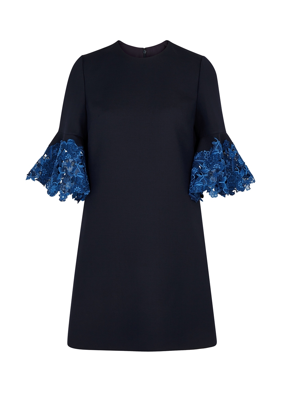Navy lace-trimmed wool-blend dress