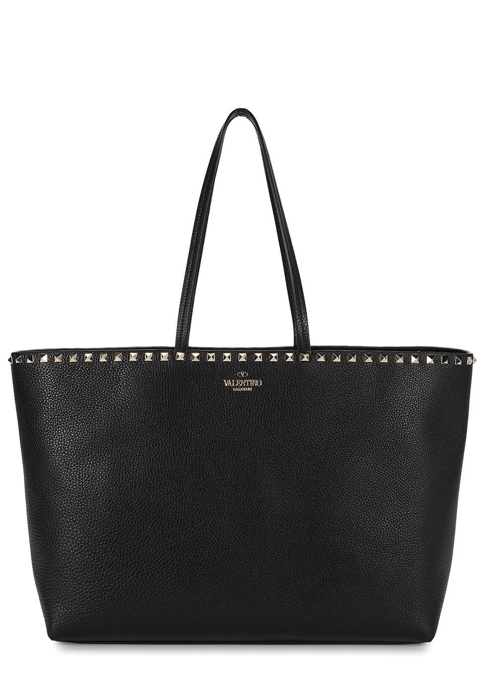 Valentino Garavani Rockstud black leather tote