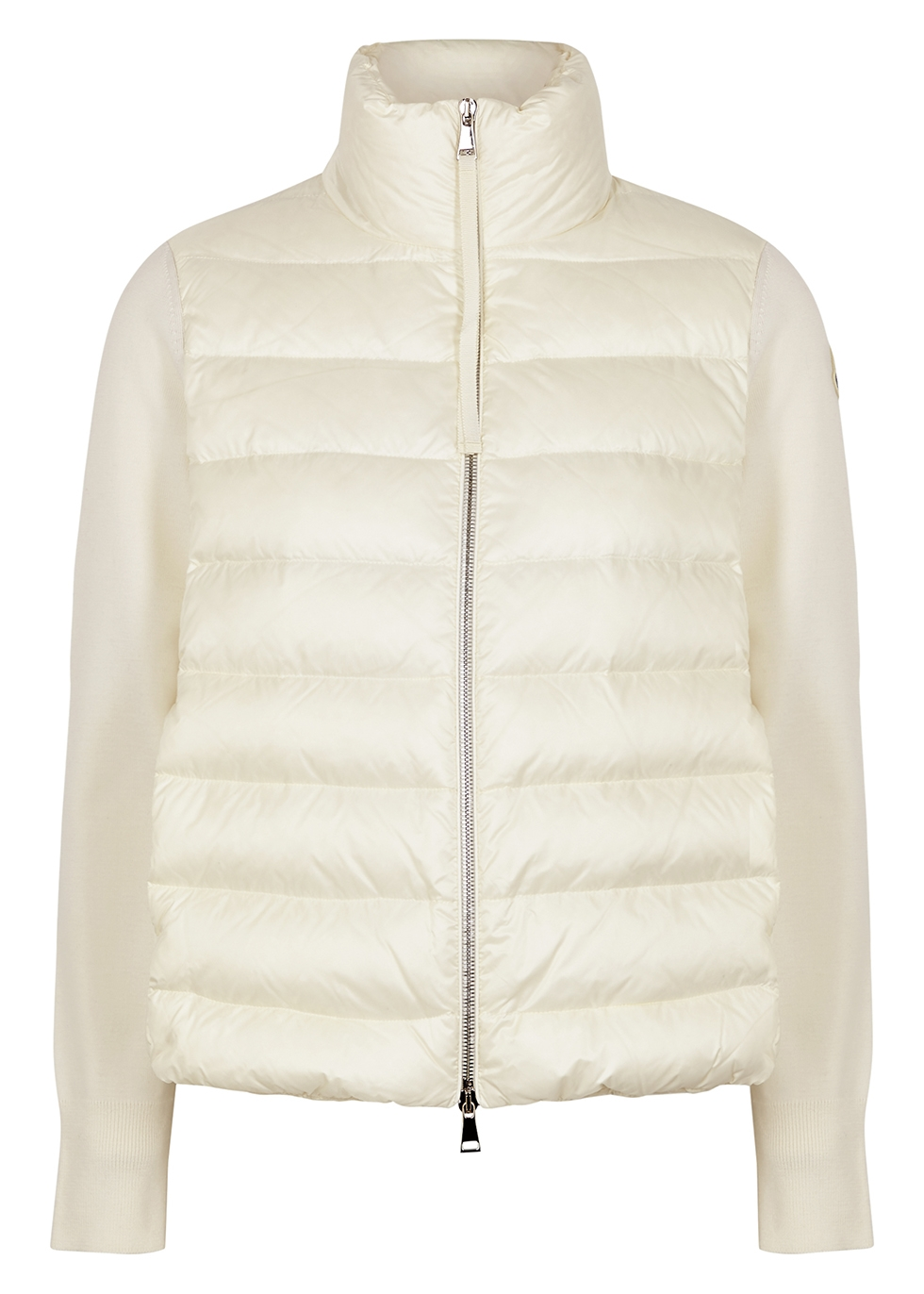Cream quilted shell and wool jacket