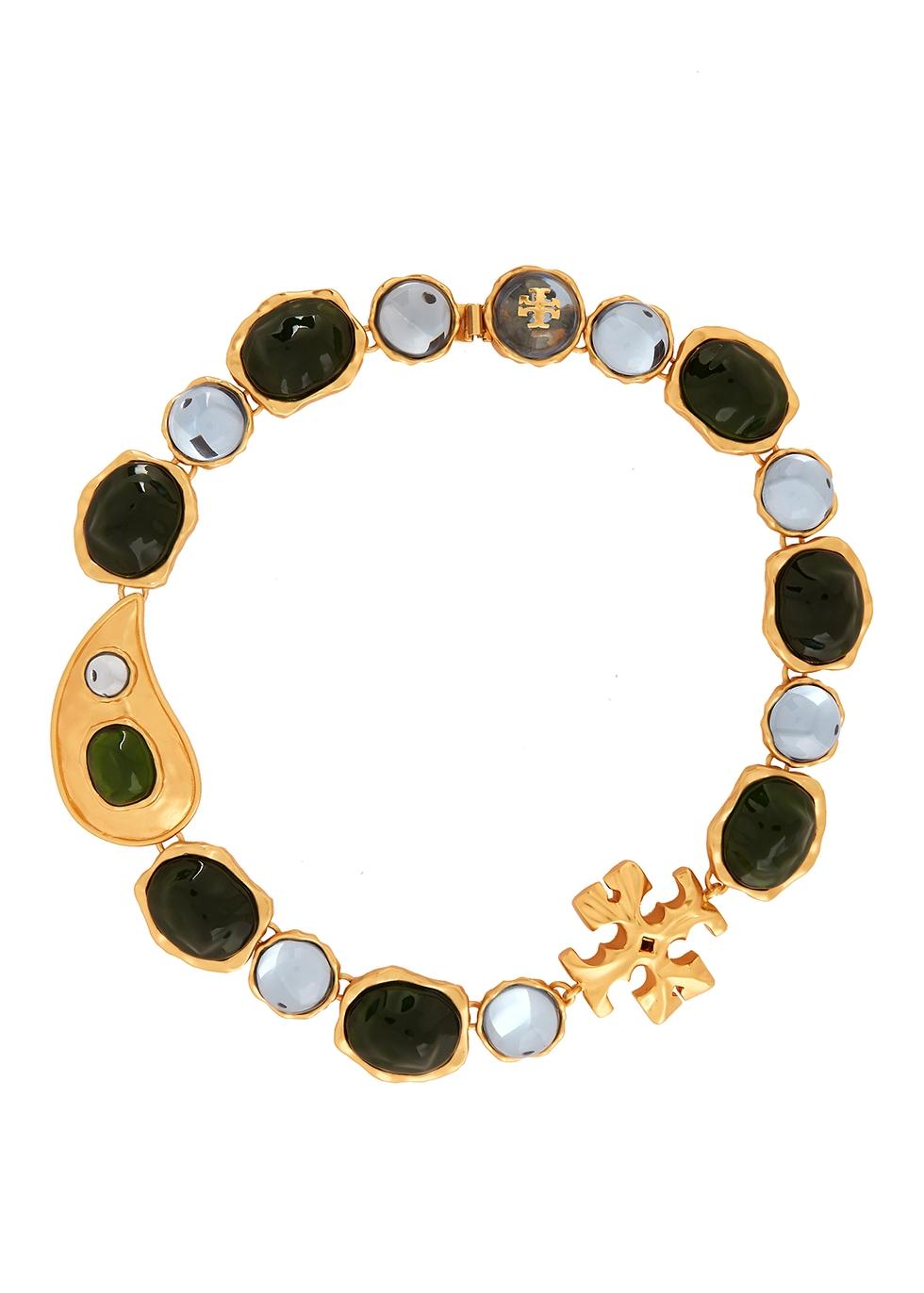 Bandana Paisley embellished gold-plated necklace