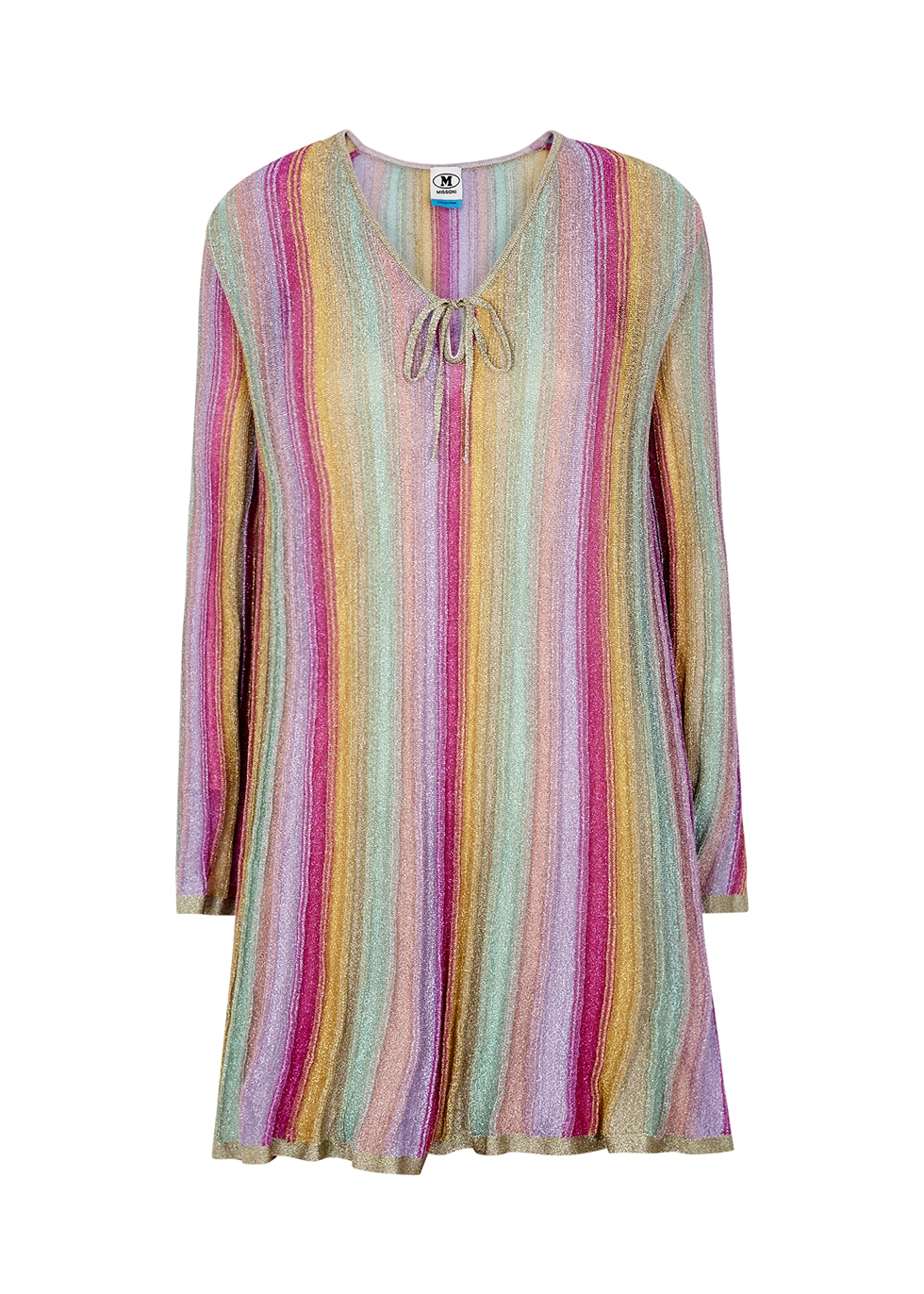 Striped metallic-weave mini dress