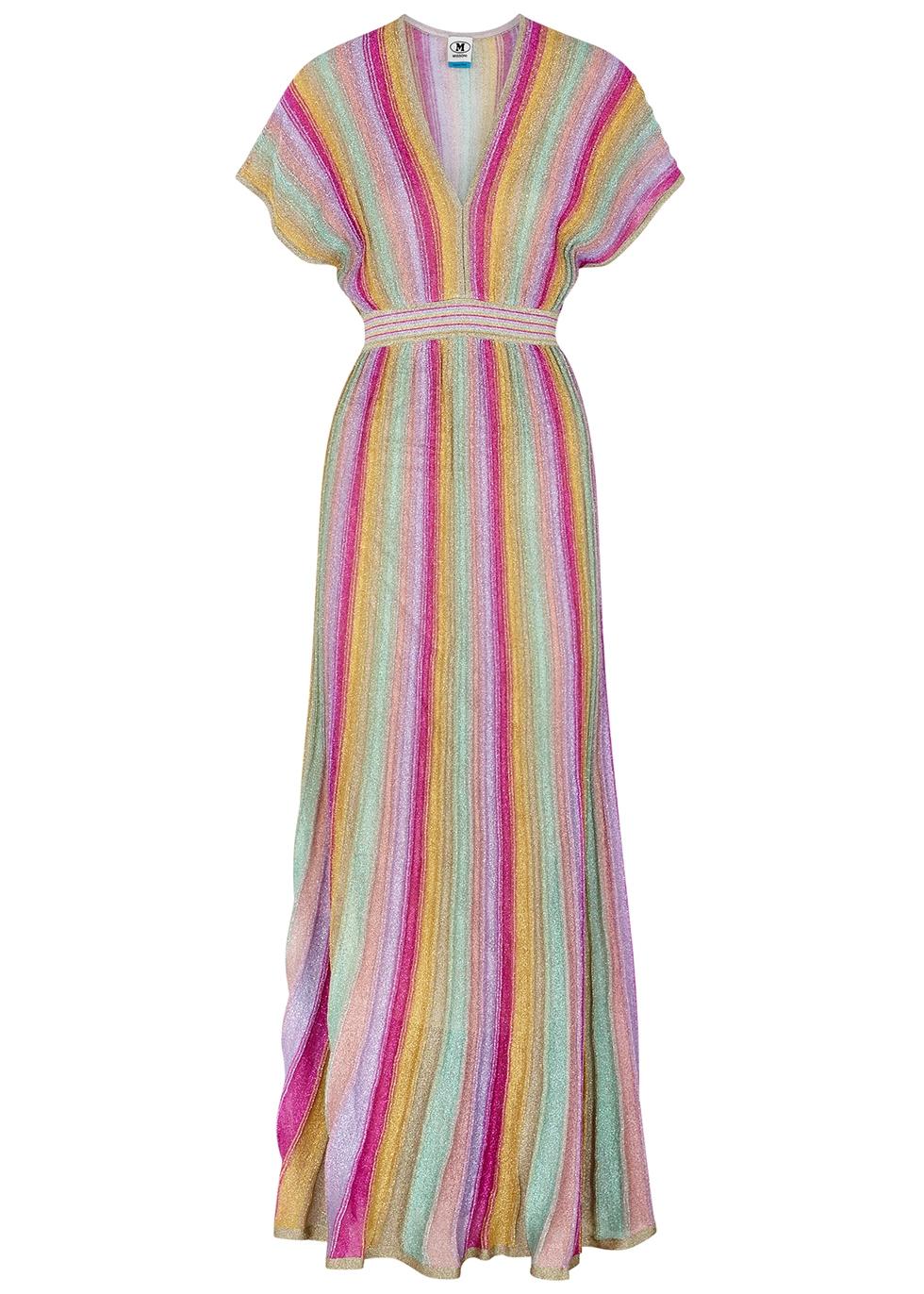Striped metallic-weave maxi dress