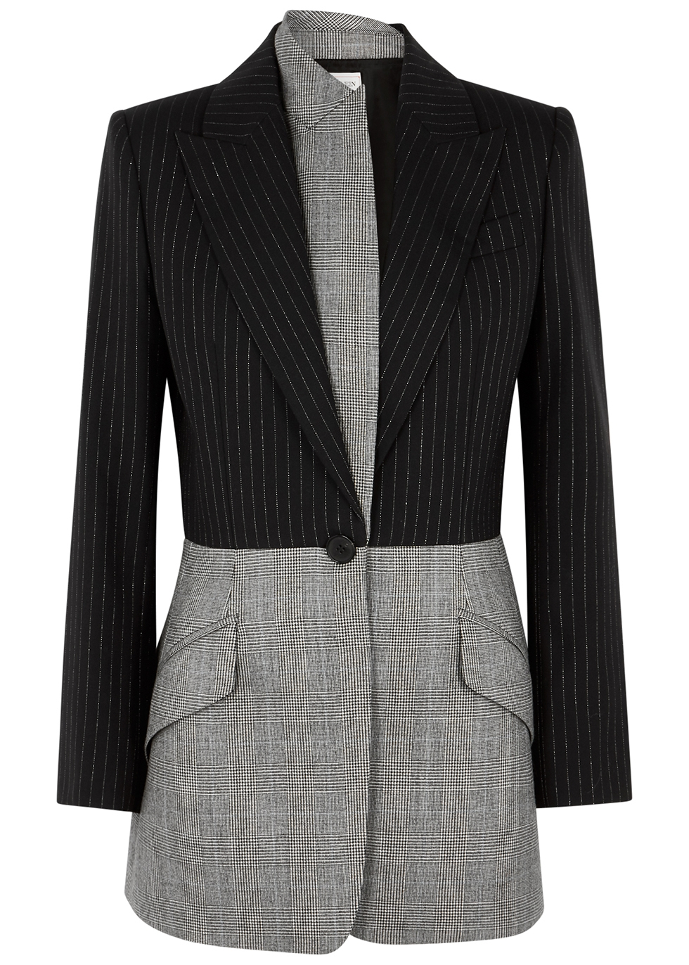 Pinstriped panelled wool blazer
