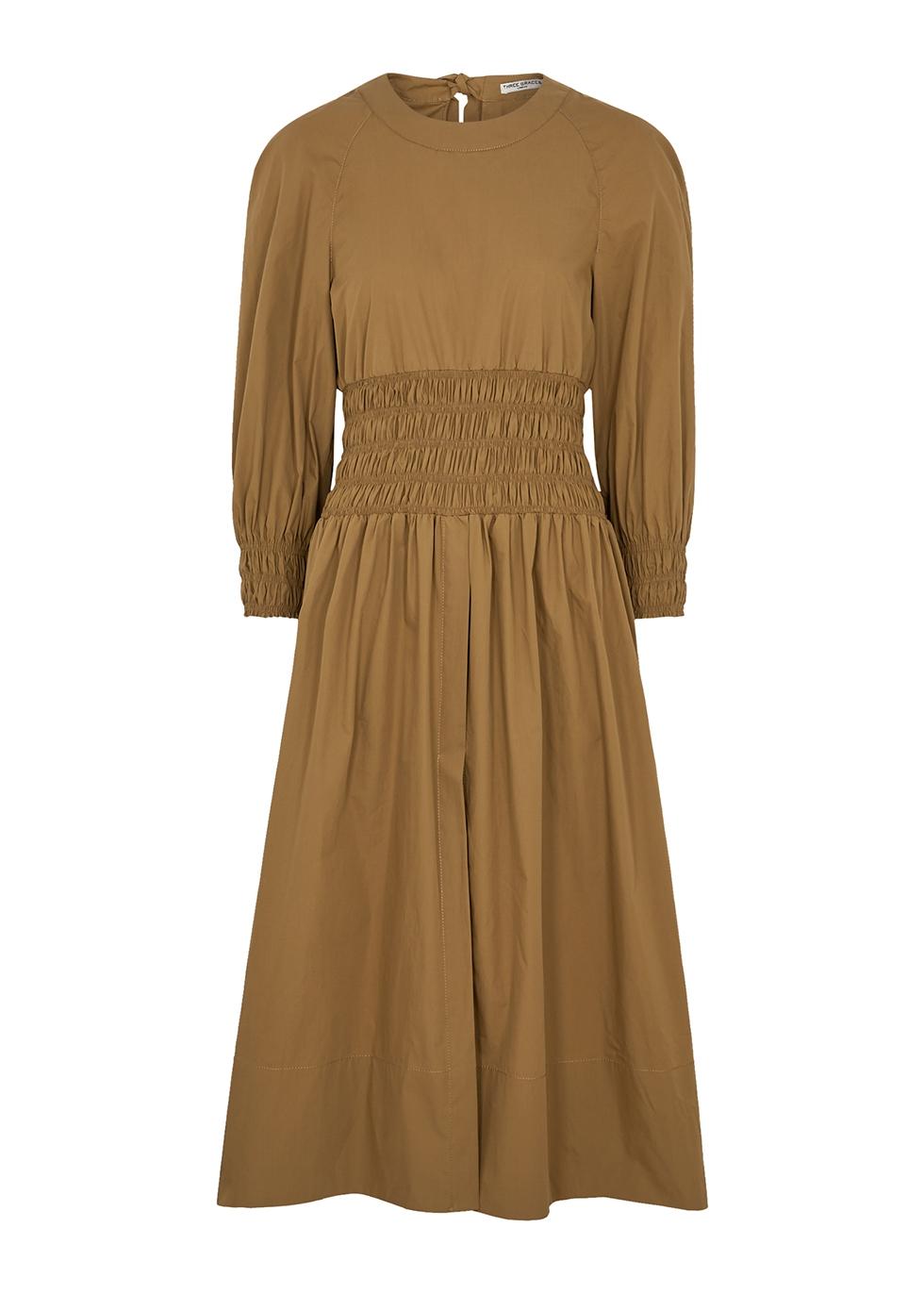 Arianna brown cotton midi dress