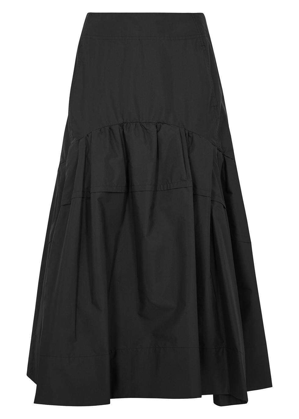 Black cotton-blend midi skirt