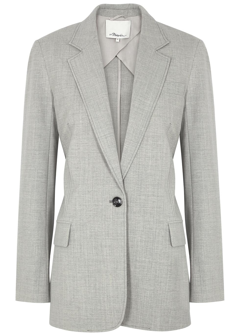 Grey wool-blend blazer