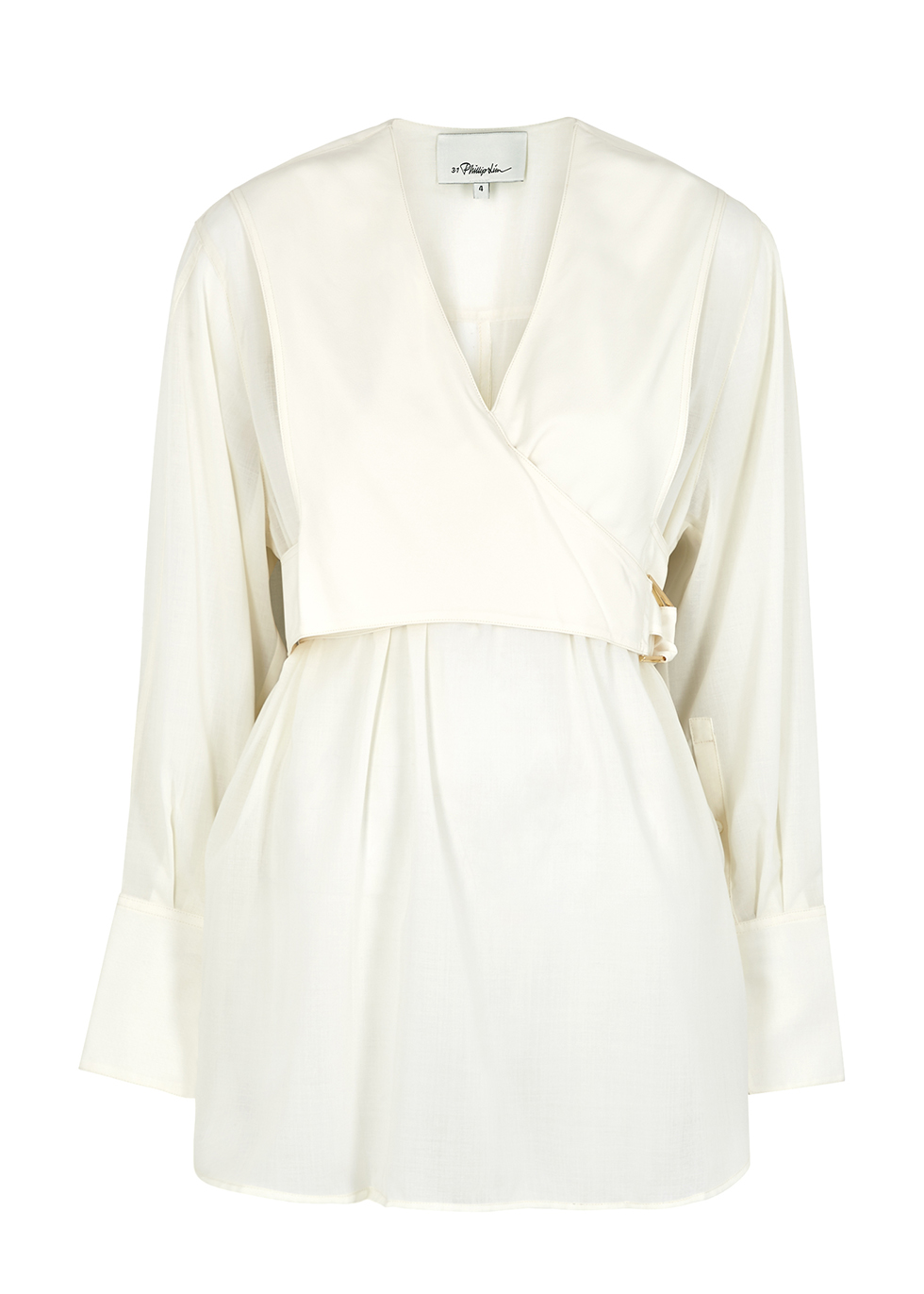 Ivory voile wrap blouse