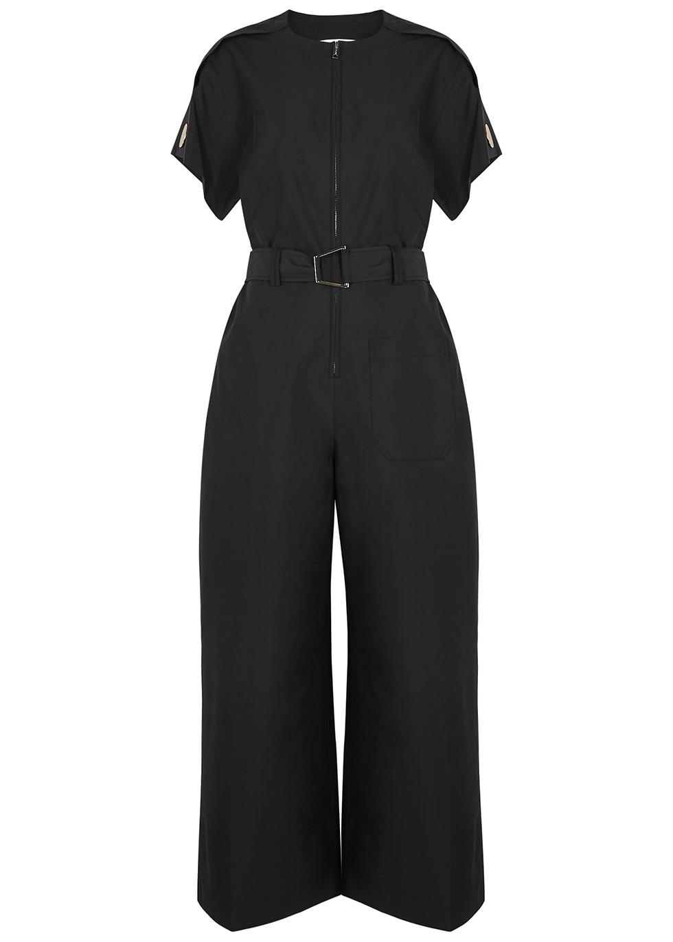 Black belted cotton-blend jumpsuit