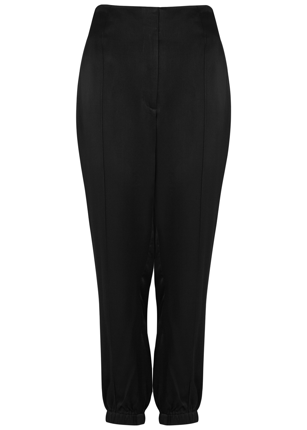 Black satin trousers