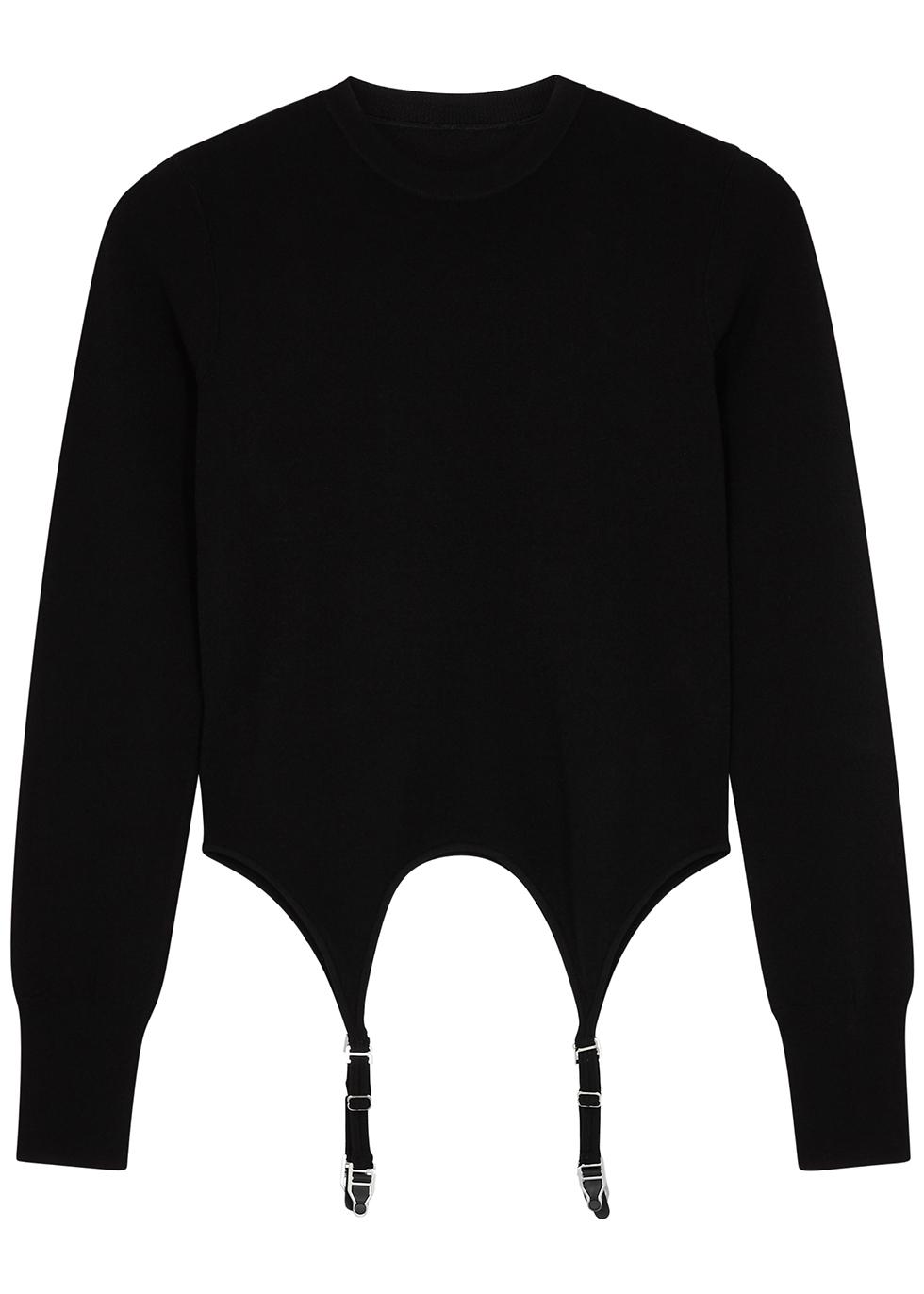 Garter black stretch-jersey top